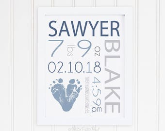 Gray Blue Nursery Art Birth Announcement Wall Print, Footprint Baby Boy Room Decor, Personalized with Your Child's Feet 8x10 inches UNFRAMED