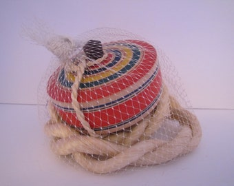 Vintage Jumbo Wooden Spin Top with Cord (Japan)