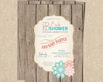 Baby Girl shower invitation, Spring Baby Shower Invitation, Co-ed Shower, Rustic Shower Invitation, Shabby Chic Baby Shower, Coral and Teal