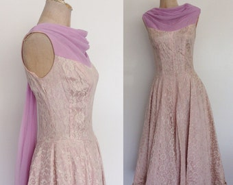 1950's Pink & Lavender Lace Party Dress w/ Chiffon Neckline Size Small Medium by Maeberry Vintage