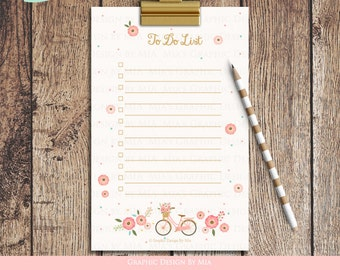 To Do List, Checklist, Printable, Digital Checklist, Flower, Bicycle  - Instant Download - ST004