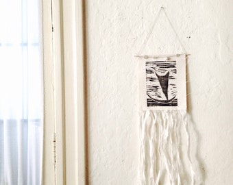 linoprint, blockprint, linocut, tapestry, wallart, home decor, decor, boho, bohochic, gypsy, boat, sailboat, nautical