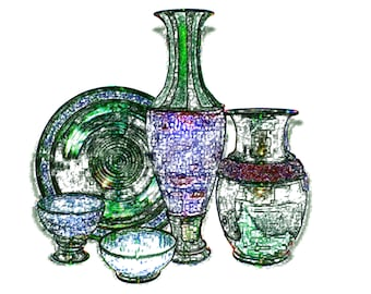 Pottery Group Stylized Print