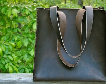 Classic Coffee Brown Leather Tote Bag
