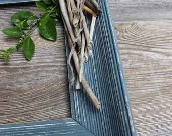 Distressed Grey Vintage Open Wall Frame with Natural Driftwood Accent - Coastal Decorating