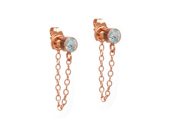 Stone and Chain Earrings - Rose Gold Chain Earrings - Swiss Blue Topaz - 14k Gold Filled - Dangling Earrings - Stud and Chain