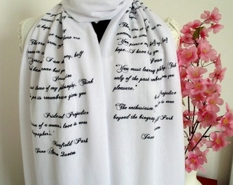 JANE AUSTEN Book Scarf Quotes Scarf Pride and Prejudice Christmas Gift Bookish Gift Handprinted Text Scarf  Literary Scarf Book Lovers Scarf