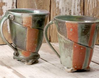 Pair of Mugs - Shino and Oribe Glaze