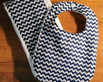 Navy Blue Baby/Infant Bib and Burp Cloth Combo