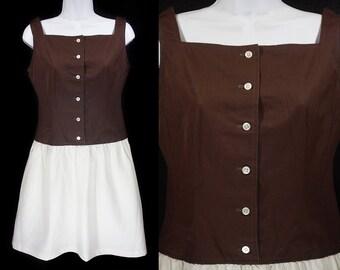 Vintage 60's JOAN LESUE by KASPER Brown & White Sleeveless Dress S/M