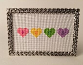 Hearts of F*ck 4x6 Framed Cross Stitch
