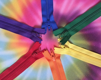 Assorted Rainbow YKK Zippers~ 14 pieces~ Pick your length~ZipperStop Wholesale Authorized Distributor YKK®