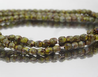 Czech Glass 3mm Fire Polish Olive Jade Picasso  50 Pieces