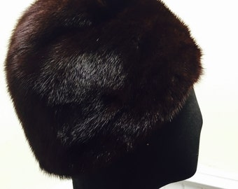 Vintage 1960s Adolfo II Genuine Dark Brown Fur Cloche Hat