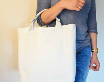 Huge Elegant Genuine Leather Bag Urban Style, White Leather Bag, Genuine Leather Shopping Bag Tote, White Italian Leather Purse