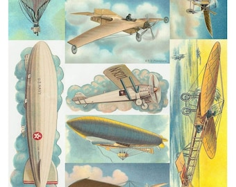 Vintage Air Planes Collage Sheet - Flying Machines, Dirigibles, Blimps, Balloons - Instant Digital Download - Printable