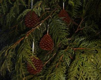 Natural Handmade 100% Beeswax Wax Ornament - pinecone