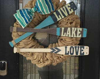 Burlap Wreath- beige burlap- lake theme wreath- summer theme- everyday wreath