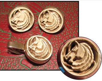 Vintage Gold Plated Cuff Links & Tie Clip Set of Horse Heads, cufflinks