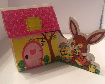 Vintage 1960's Easter Folding Paper Cottages Party Favor Boxes Lot of 4 Easter Bunny Treat Box Adorable