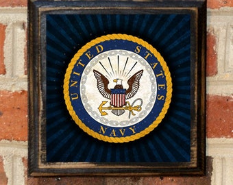 US Navy Seal Forged by the Sea Wall Art Sign Plaque Gift Present Home Decor Vintage Style USNA Sailor Naval Academy Get em Goat Antique