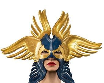 Seraphim Leather Mask, angel mask, winged mask, leather mask, displayable mask, masqurade mask, halloween mask, leather masks fantasy