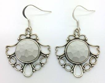 Concrete jewelry, earrings with concrete crystal, concrete jewelry, earrings vintage silver, gifts for women