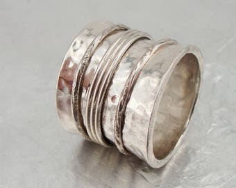 Israeli Massive wide 925 Silver Swivel band Ring Size 7.5, Unique Gift !!! (d 1020r)