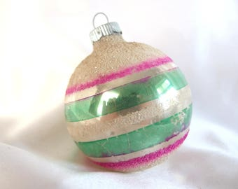 Striped Shiny Brite Christmas Ornament - Large Pink and Green Ornament with Mica