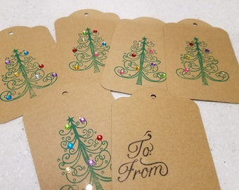 Bling Colorful Christmas Tree Gift Tags