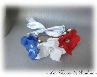 Red white blue flower Nature bracelet