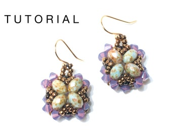Purple and green earrings Tutorial