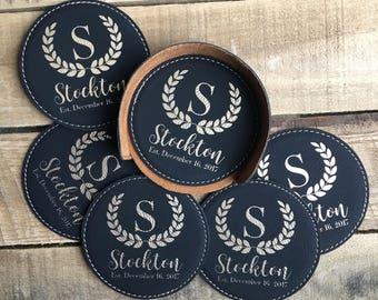 Custom Bar Coasters, Leather Coaster Set, Custom Coasters, Engraved Coasters, Personalized Coasters, Personalized Bar, Custom Bar Accessory