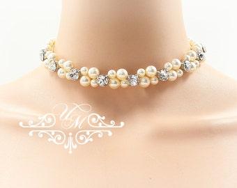 Wedding Necklace Double Strands Swarovski Pearl Swarovski Crystal Necklace Bridal Necklace Bridal Jewelry Bridesmaids Necklace - EDA