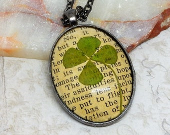 Clover Necklace, Lucky Four Leaf Clover Necklace, Shamrock Clover, 4 Leaf Clover, Four Leaf Clover, Luck Necklace