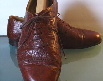 Vintage Johnston & Murphy Made in Italy Faux Alligator Shoes. Size 9.5 US