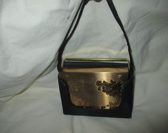 RARE Never Used VOLUPTE Carry ALL COmpact Purse Powder Lipstick Gold Tone in Black Case w/Comb!