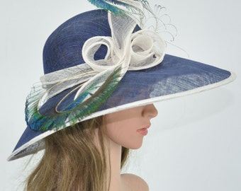 Navy Blue with White Kentucky Derby Hat, Church Hat, Wedding Hat, Easter Hat, Tea Party Hat Wide Brim Woman's Sinamay Hat
