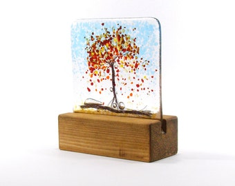 Autumn Tree Fused Glass in stand, Kiln Fired, Gift, Glass Gift, Glass tree