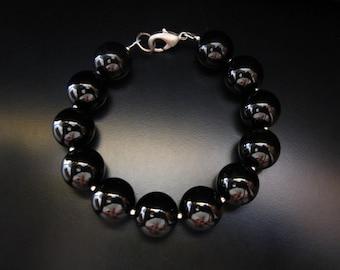 Black Onyx Bracelet, Black Onyx Round Beads and Sterling Silver Round Beads, Big Black Bead Bracelet, Chunky Bracelet, Black Onyx Jewelry