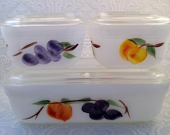 Sweet Vintage Fire King Gay Fad Fruit 6 piece Refrigerator Ovenware Set