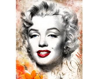Marilyn, Colorful Wall Art, Digital Art, Printable Poster, Digital Download, Printable Photography, Printable Art,  Photographic Collage