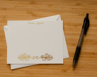 Decorative scroll personalized gold foil press stationery set of 10 with envelopes