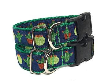 CACTI dog collar, tag collar, buckle collar, cactus collar, adjustable collar, green collar, dog tag collar, cactus tag collar, blue collar