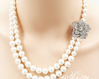 Wedding Necklace Double Strands Swarovski Pearl Necklace Rhinestone Rose Necklace Bridal Necklace Bridal Jewelry Bridesmaids Necklace - ROSE