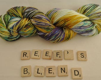 """Hand-dyed yarn, """"Reef's Blend"""" variegated, soft and squishy yarn. Great for socks or shawls. 80/20 Superwash wool/Nylon"""