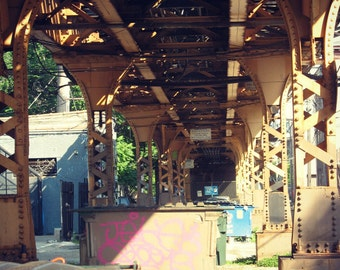 Chicago Photo, Wicker Park, The El, Chicago Photography print, Blue Line, El Train, art, graffiti, street art, light brown, hot pink, city