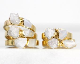 roher mondsteinring | Juni Geburtsstein Ring | weiße Druzy Ring | Mondstein Stapelring | Mondstein-Stapler-Ring | Druzy stapelbar ring