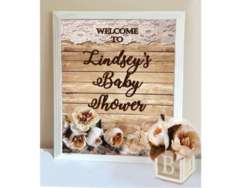 RUSTIC BABY SHOWER- Welcome Sign, Rustic Baby Shower Decor