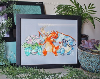 ORIGINAL PKMN Kanto Starters 8x10 Gouache Painting - 20th Anniversary (2016)